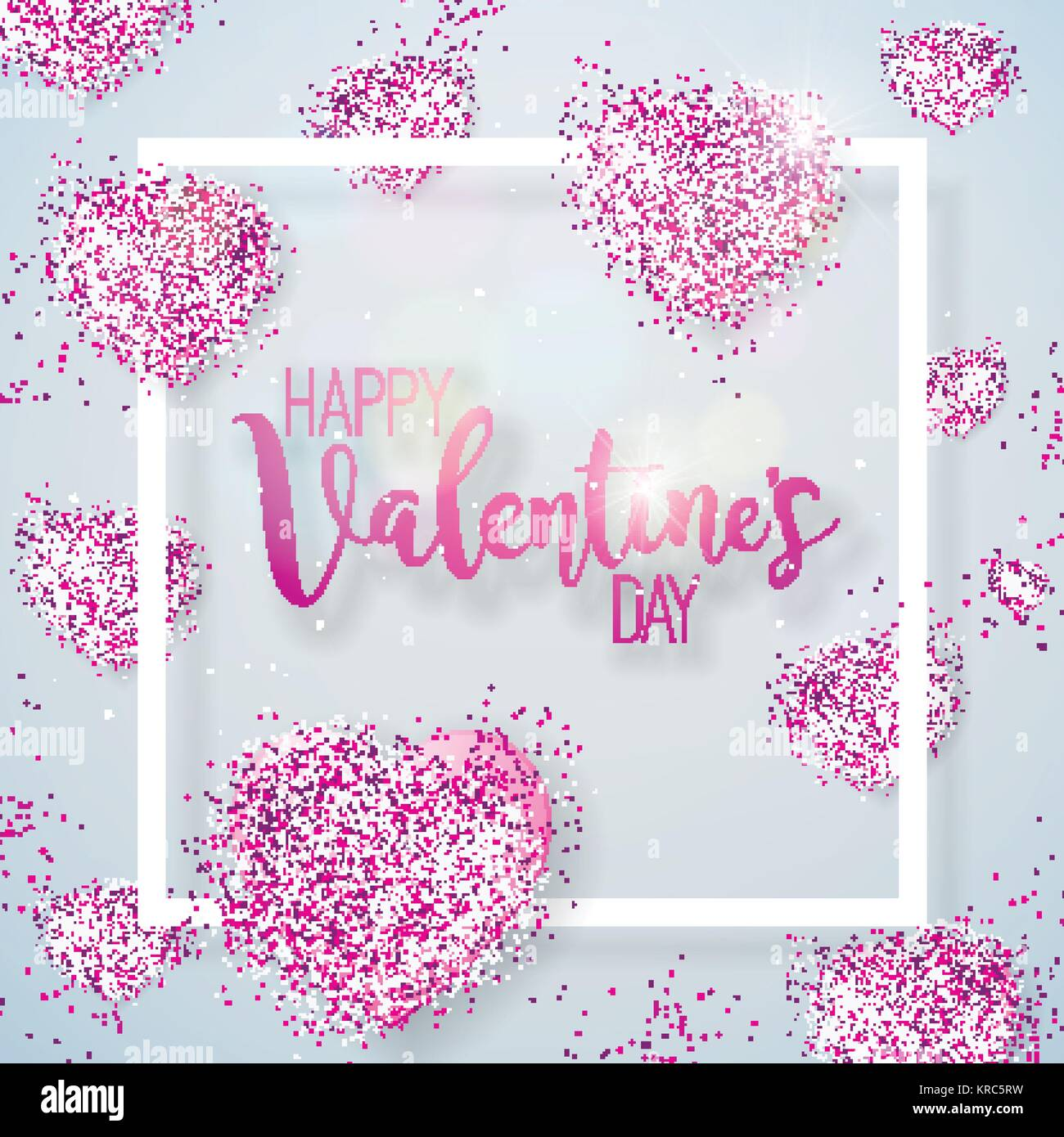 Happy Valentines Day Illustration with Pink Glittered Hearth on ...