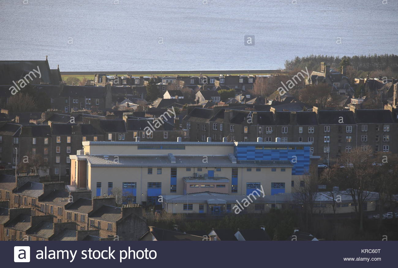 Elevated view from St Joseph's R C Primary School Dundee Scotland  December 2017 - Stock Image