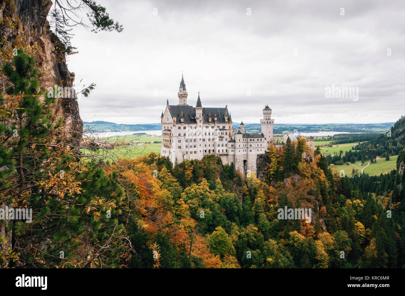Neuschwanstein castle in colorful autumn day in Bavaria, Germany - Stock Image