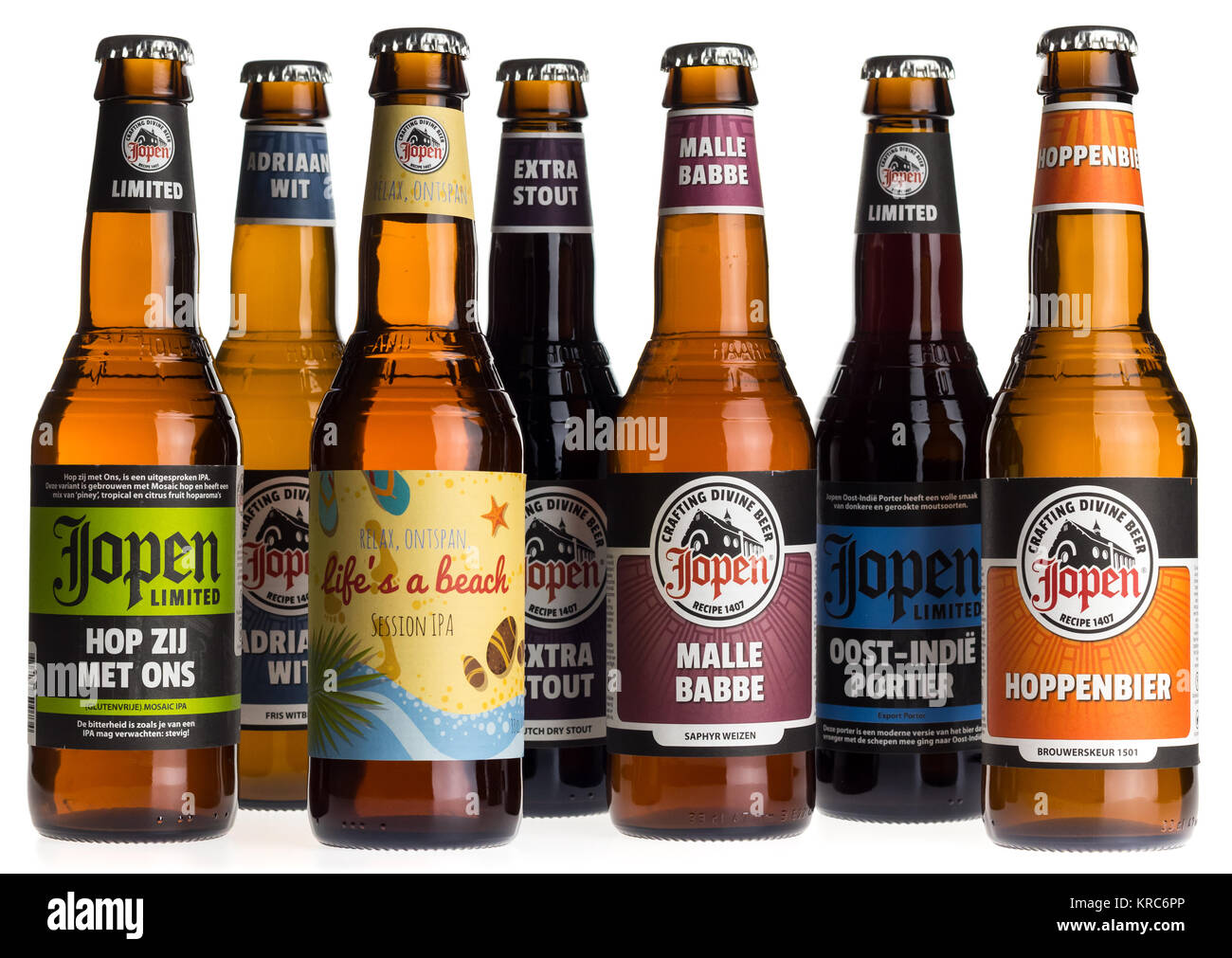 Collection of Dutch craft beers by Jopen brewery in Haarlem, The Netherlands - Stock Image