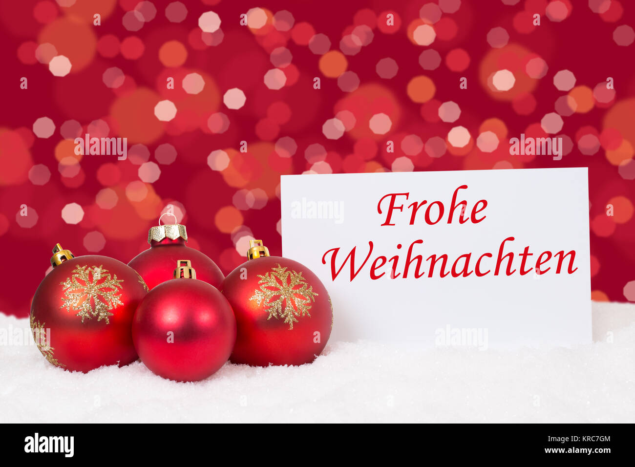 rote weihnachtskugeln frohe weihnachten weihnachtskarte w nsche karte stock photo 169299780 alamy. Black Bedroom Furniture Sets. Home Design Ideas