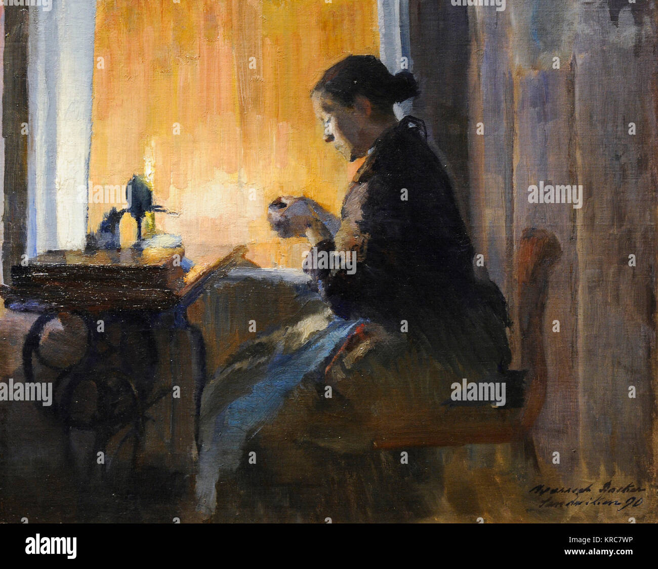 Harriet Backer (1845-1932). Norwegian painter. By the Lamp Light, 1890. National Gallery. Oslo. Norway. - Stock Image
