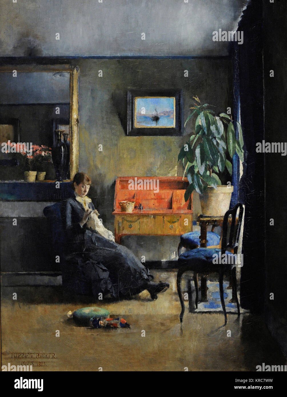 Harriet Backer (1845-1932). Norwegian painter. Blue Interior, 1883. National Gallery. Oslo. Norway. - Stock Image