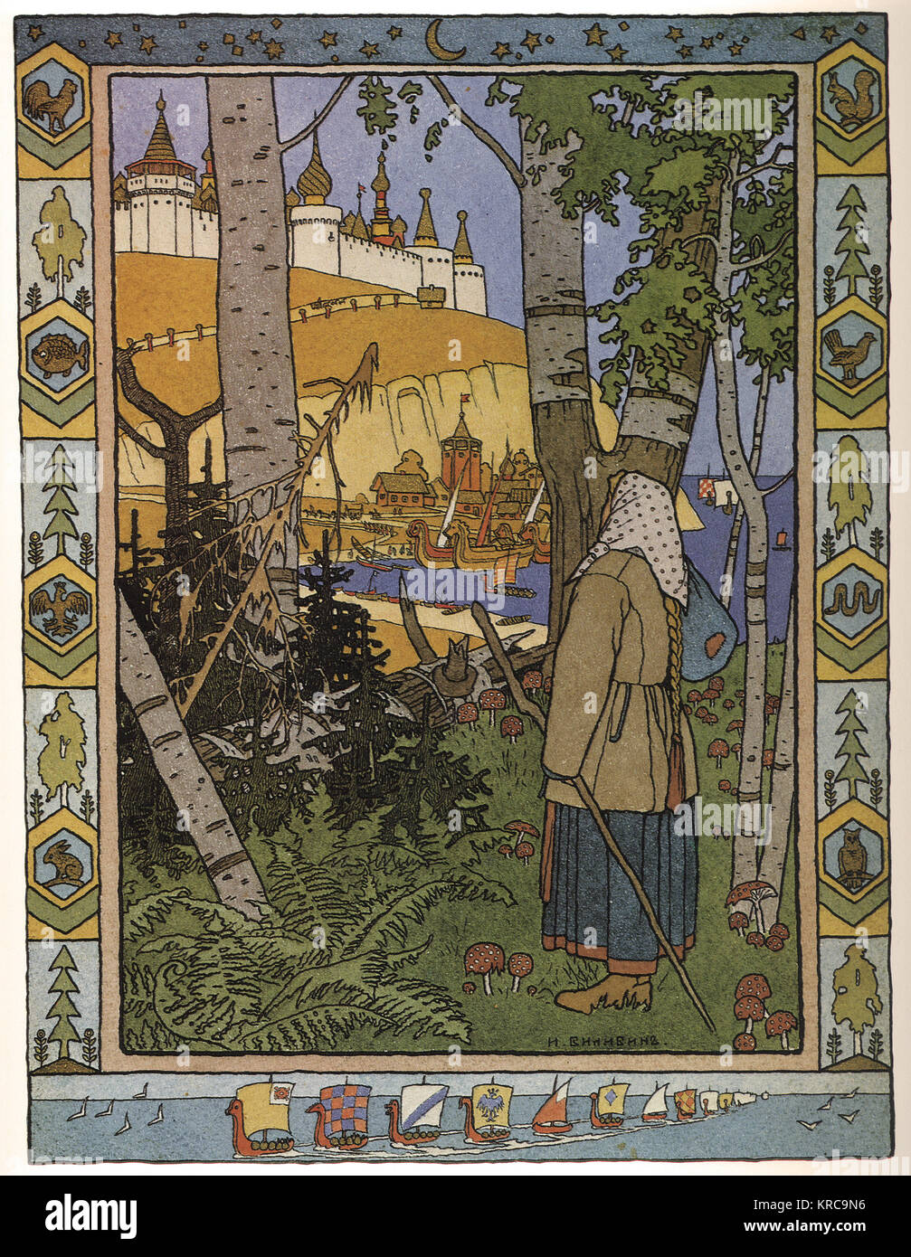 Ivan BILIBIN - illustration for the russian fairy story feather of finist falcon 1900 - Stock Image