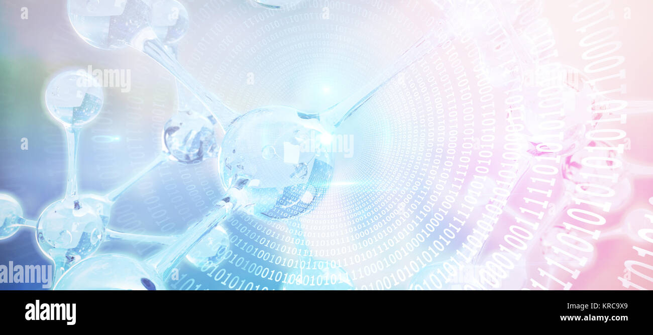 Spiral of shiny binary code against dna structure - Stock Image