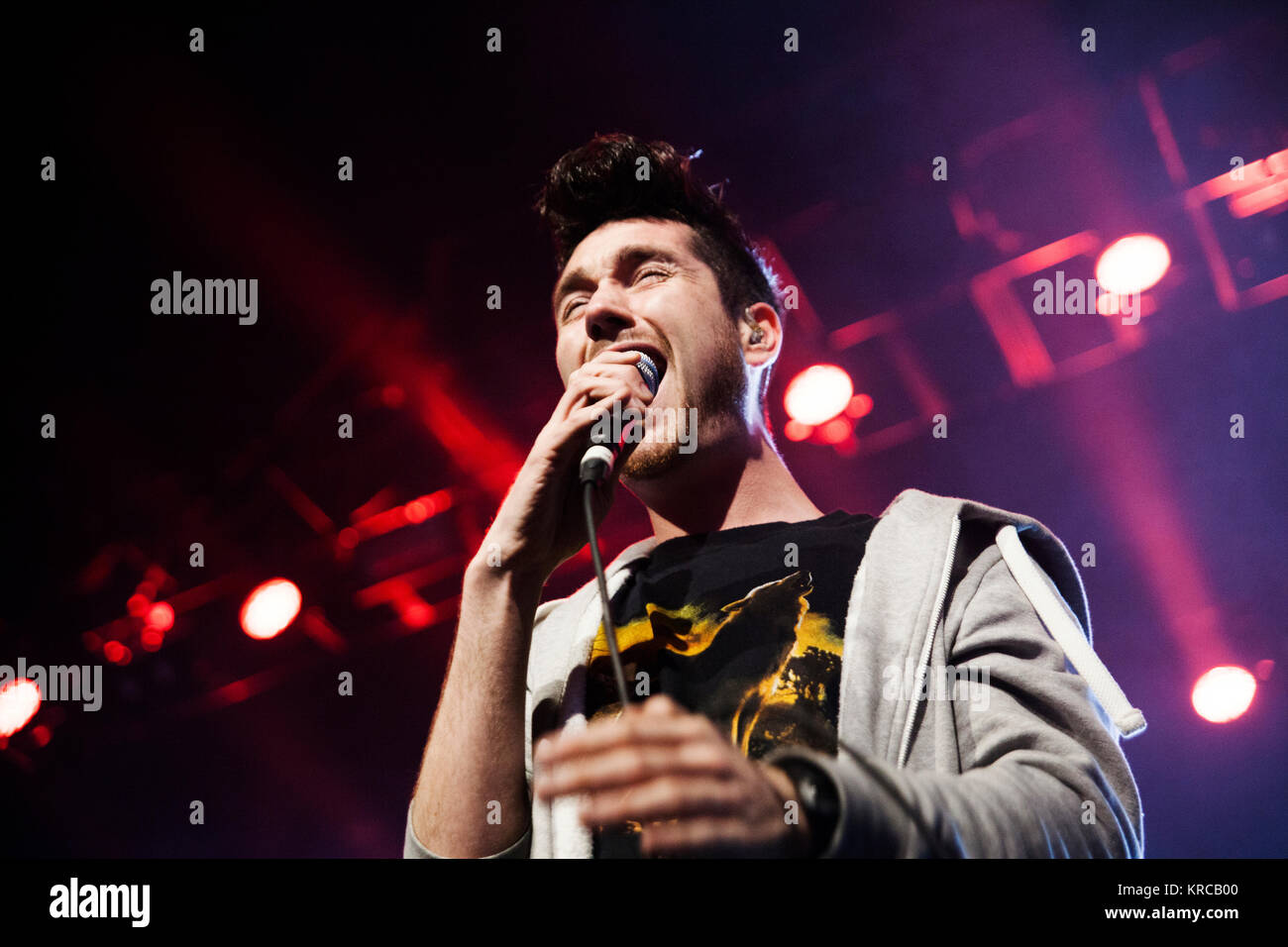 The English indie rock and synth pop band Bastille (stylised as BΔSTILLE) performs a live concert at VEGA in Copenhagen. - Stock Image