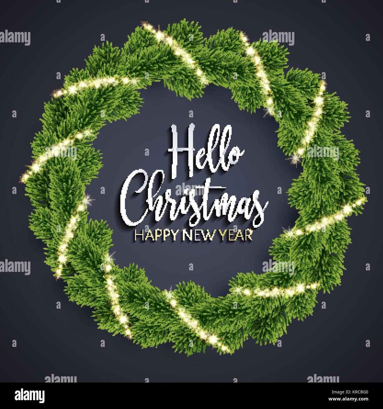 Christmas fir-tree wreath and glowing sparks - Stock Image
