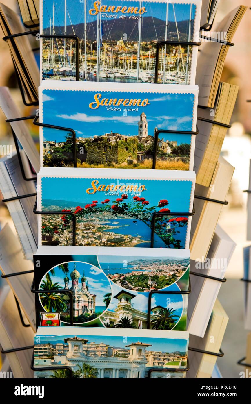 Postcards, Sanremo, Imperia province, Italy - Stock Image