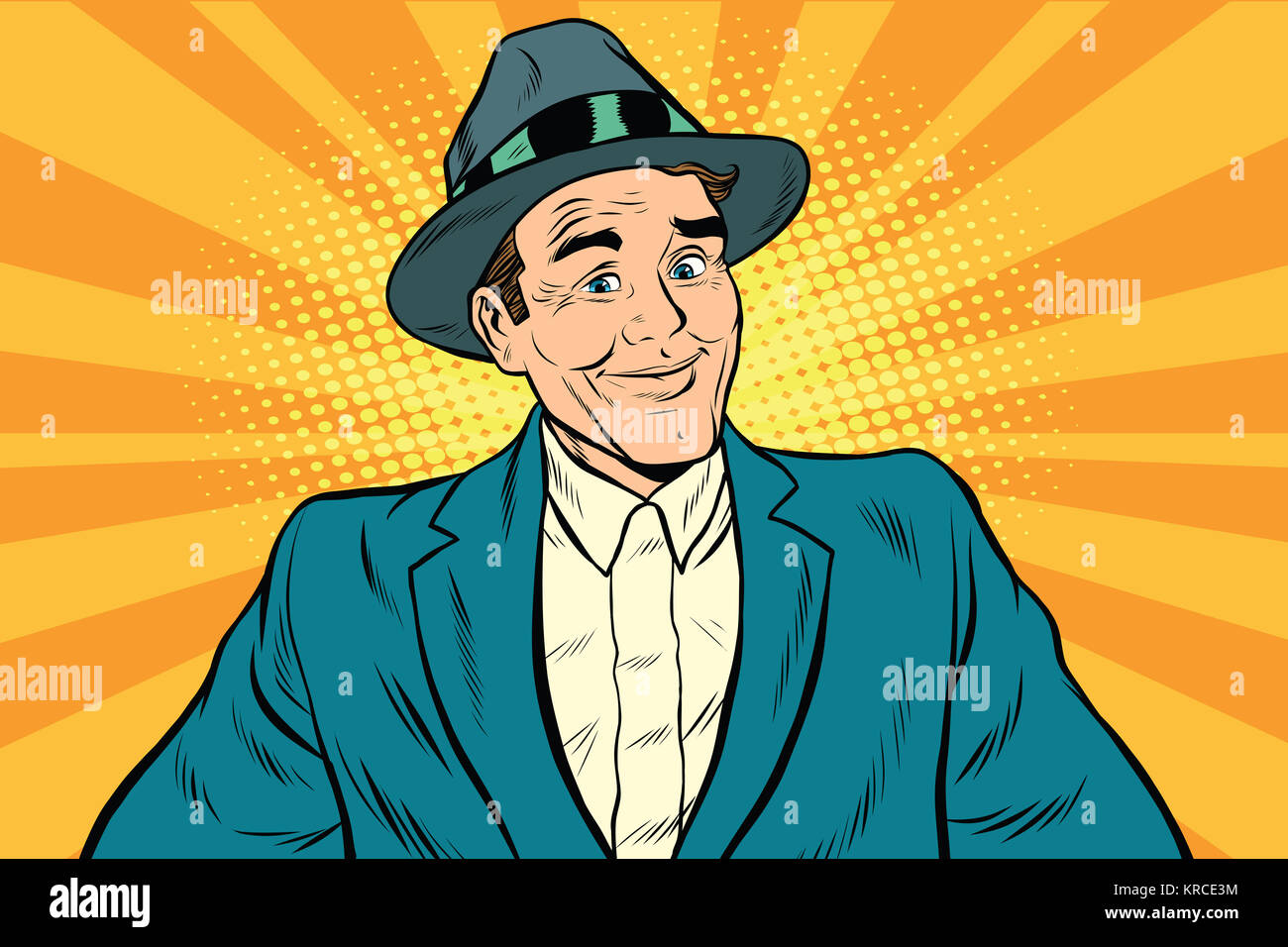 Smiling man without a tie - Stock Image