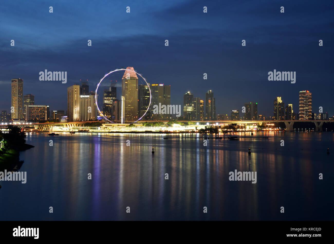 Singapore cityscape during sunset - Stock Image