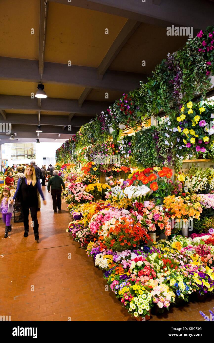 Mercato dei fiori, market flowers, Ventimiglia, Imperia province, Liguria, Italy - Stock Image