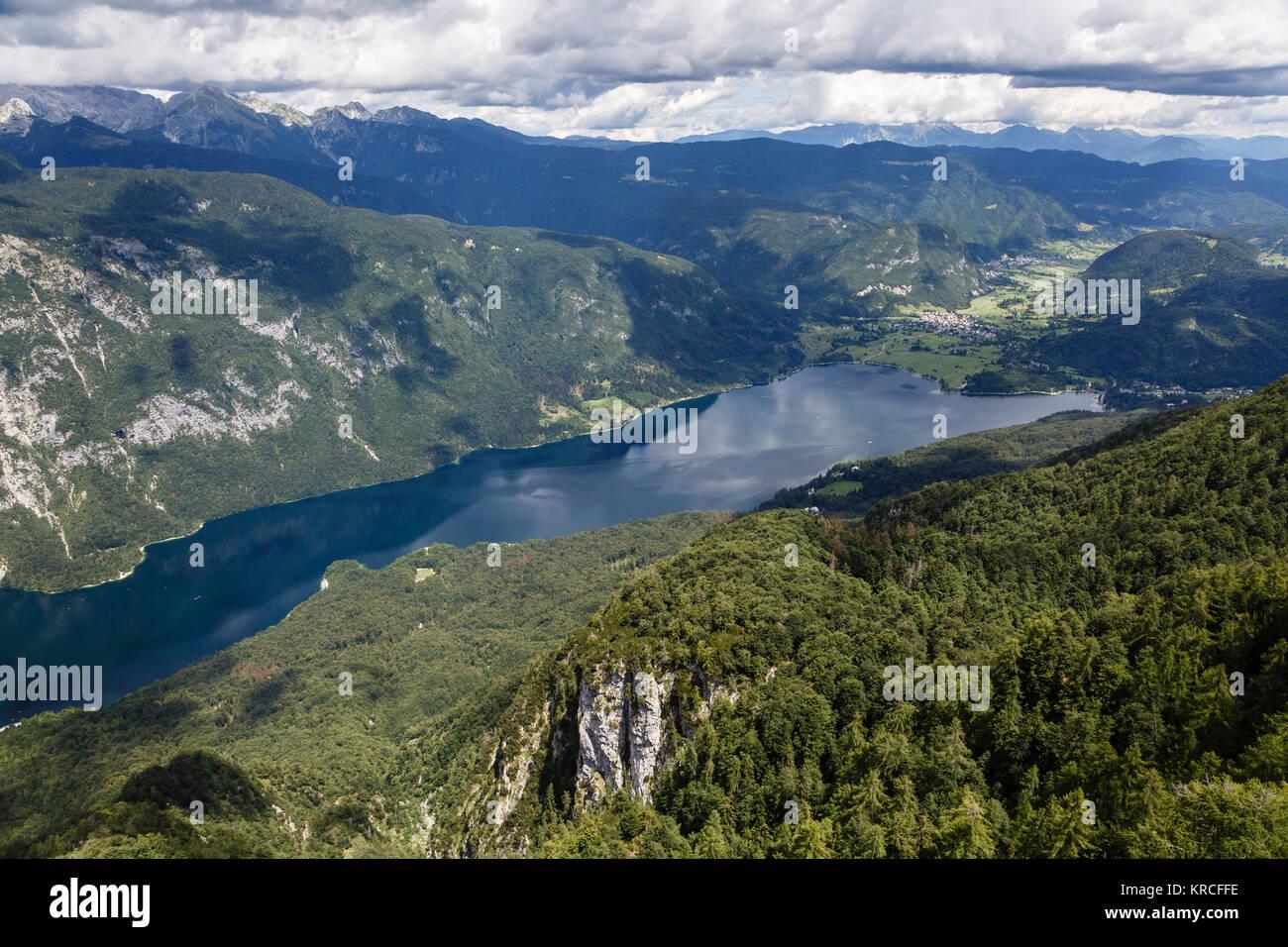 Lake Bohinj from the Vogel mountain, Triglav National Park, Slovenia - Stock Image