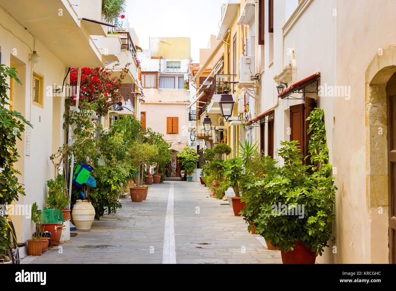 Rethymno Greece Crete. Walk around the old resort town Rethymno in Greece. Architecture and Mediterranean attractions Stock Photo