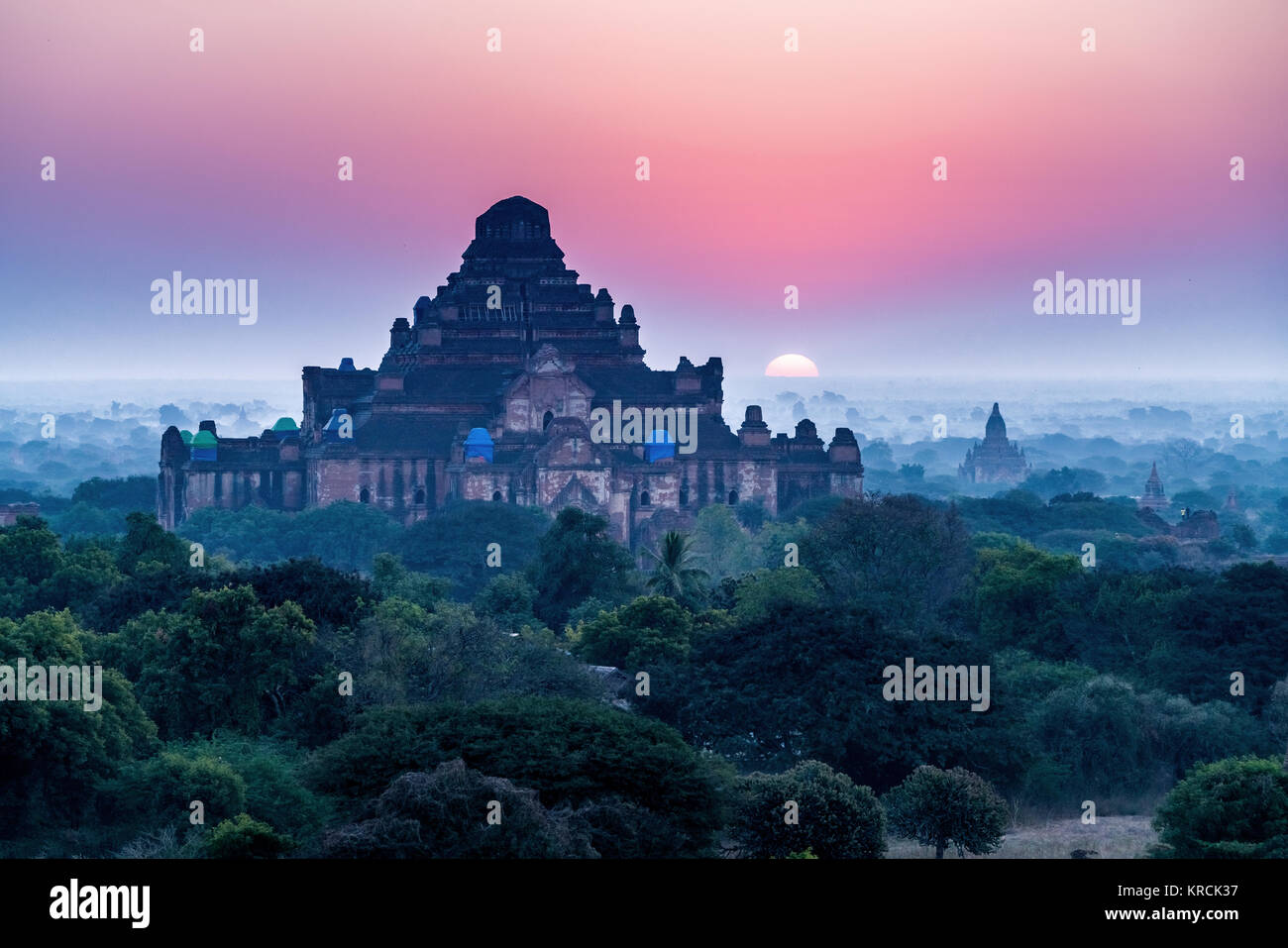 Royalty high quality free stock image aerial view of Sunrise landscape view with silhouettes of old temples, Bagan, Stock Photo