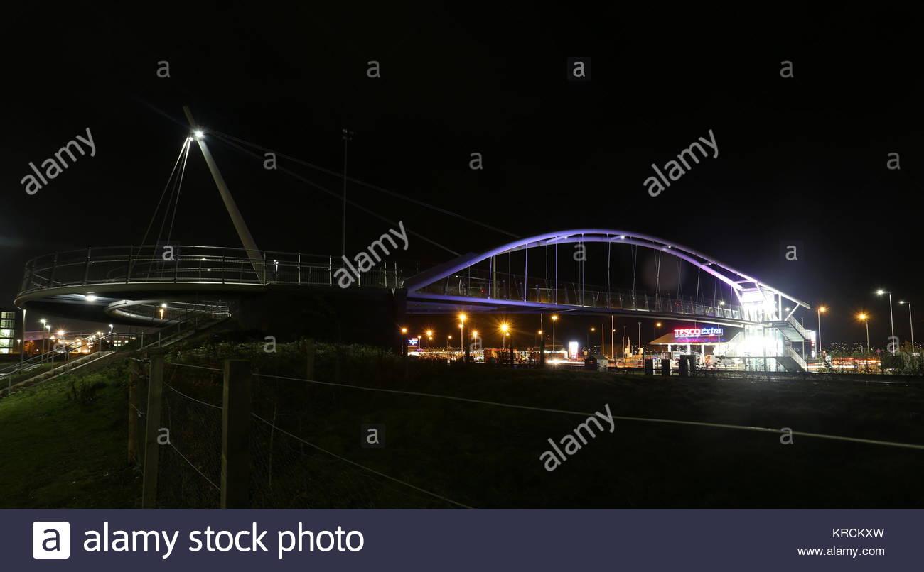 Seabraes bridge by night Dundee Scotland  December 2017 - Stock Image