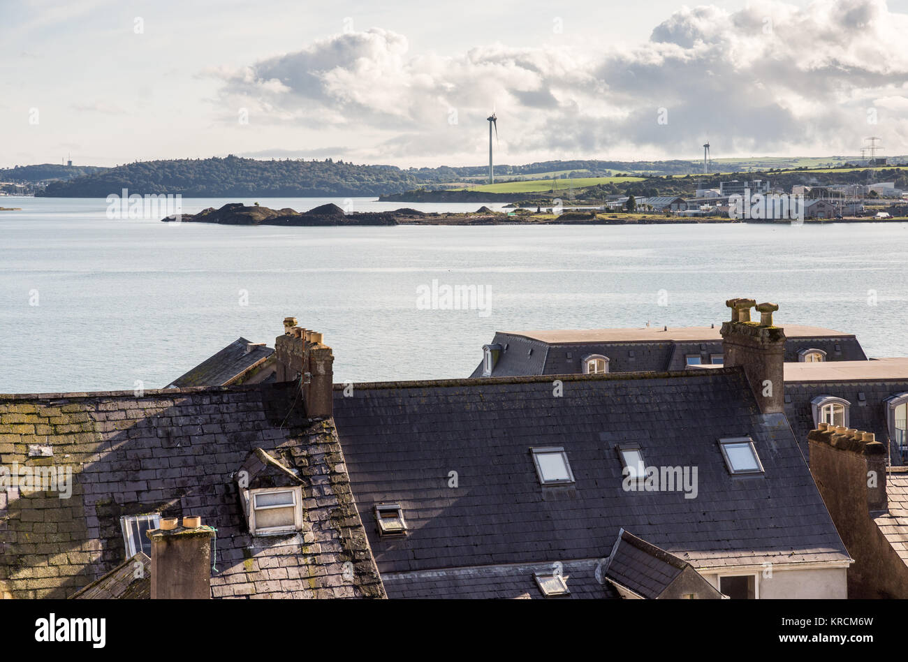 Cork Harbour and Haulbowline Island Naval Base viewed from Cobh. - Stock Image