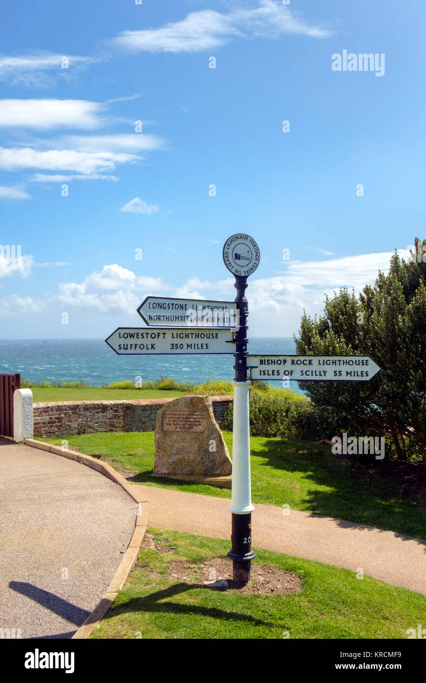 Signpost pointing to other notable lighthouse locations in the UK, Lizard Lighthouse & Heritage Centre, Lizard - Stock Image