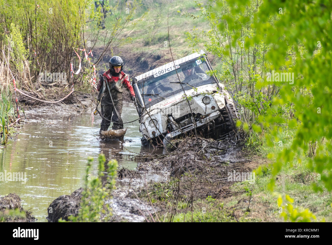 SALOVKA, RUSSIA - MAY 5, 2017: Vehicle mud race at the annual competition 'Trofi rubezh 2017' - Stock Image