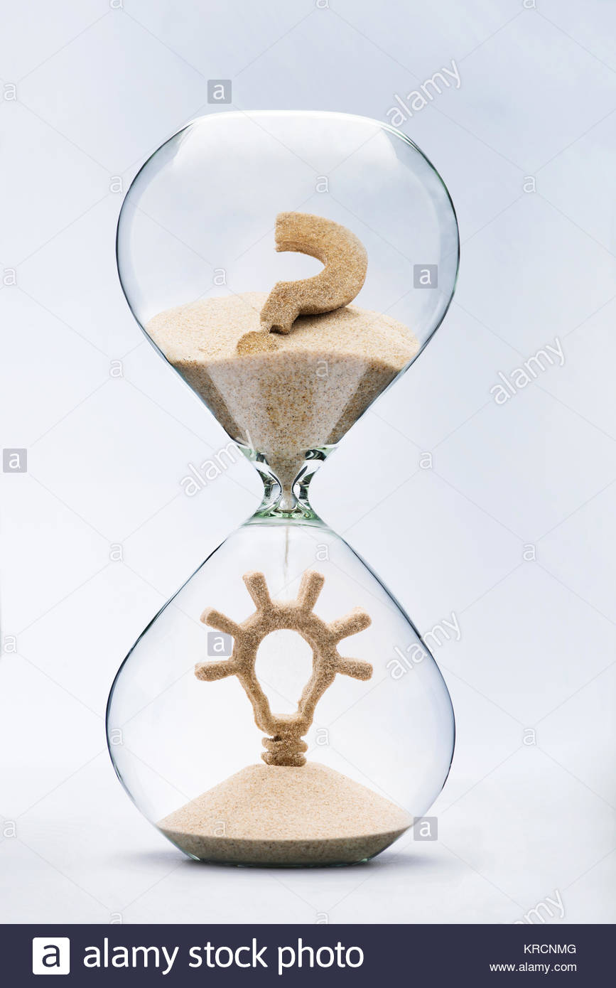 Time is creativity concept. Light bulb made out of falling sand from question mark flowing through hourglass. - Stock Image