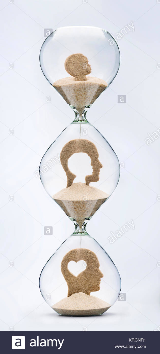 Childhood is the root of adulthood. Self evolution concept. Falling sand inside a hourglass taking the shape of - Stock Image