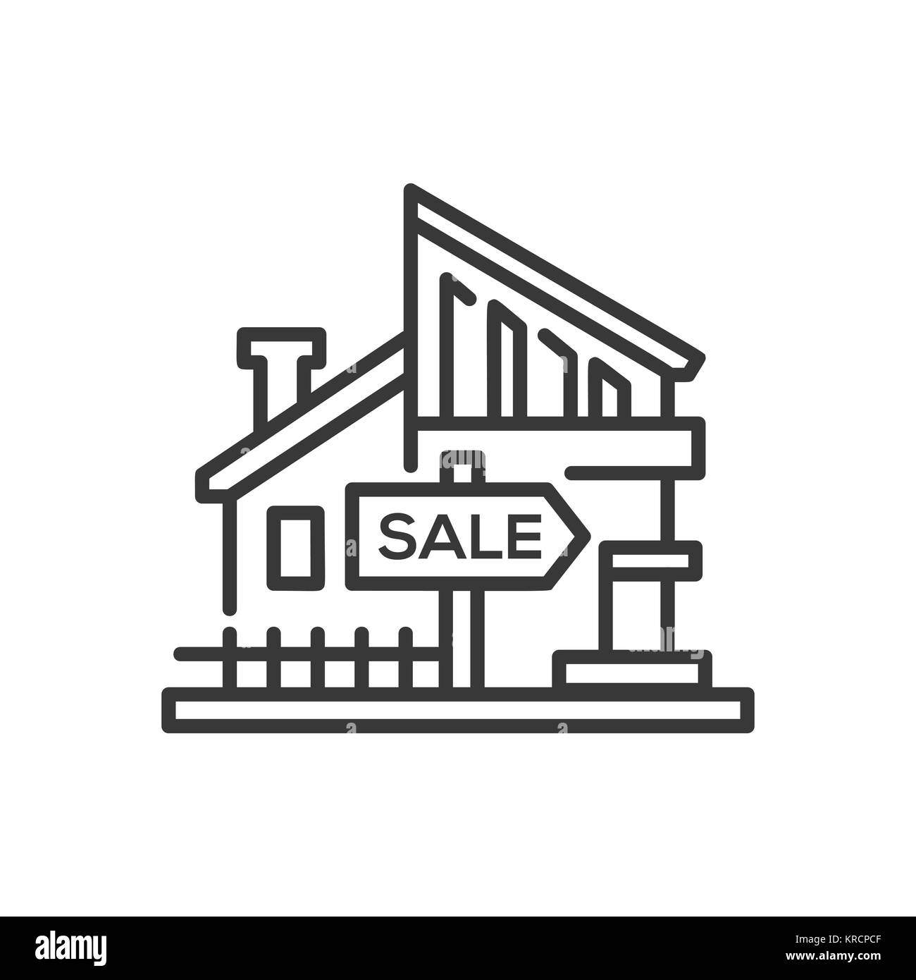 House for sale - line design single isolated icon - Stock Image