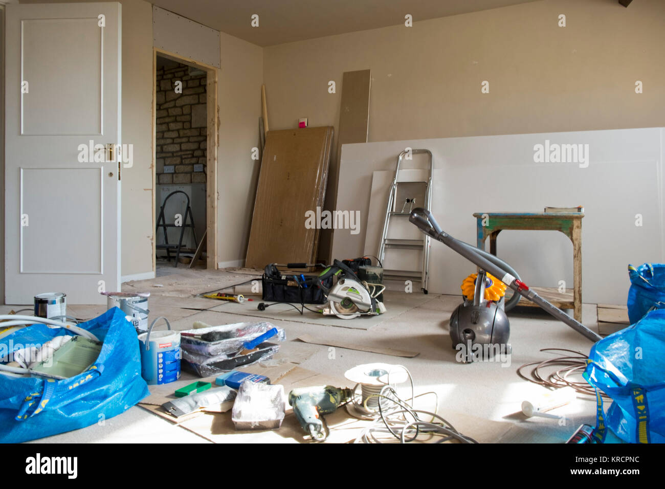 An untidy work in progress apartment makeover in a period property - Stock Image
