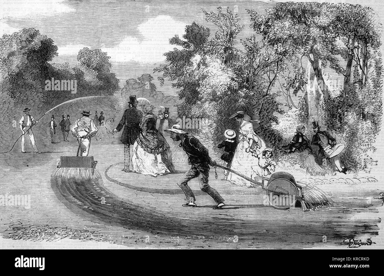 A combined garden roller and watering machine, Paris. Date: 1859 - Stock Image