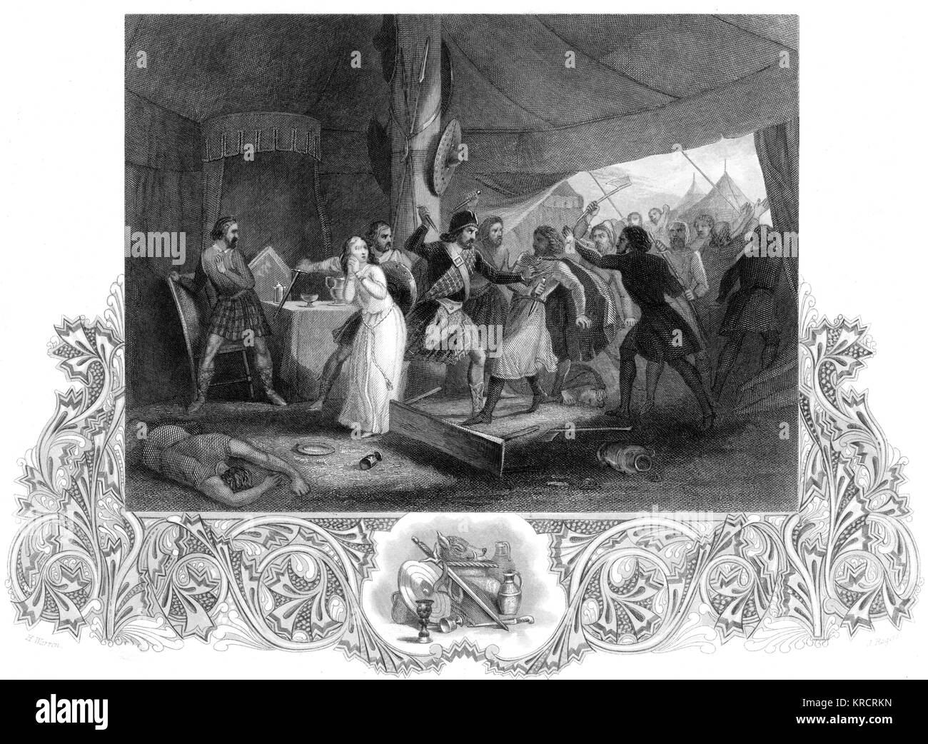 Shane O'Neill killed by Scottish soldiers in Ireland Date: 1567 - Stock Image