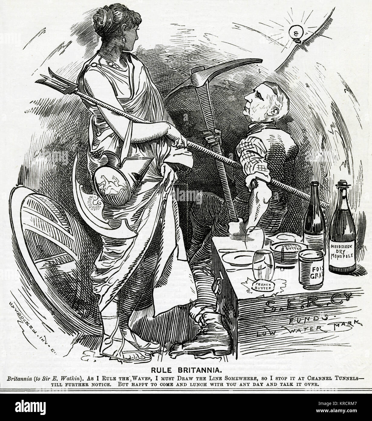 Britannia decides against the Channel Tunnel. 1882 - Stock Image