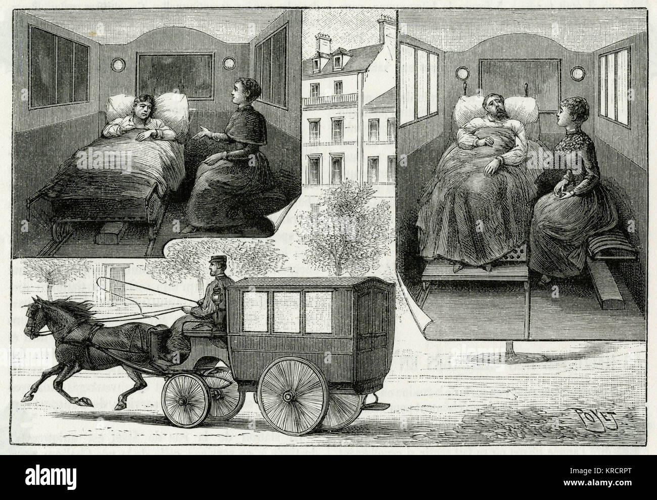 Horse-drawn ambulance used in Paris (interior and exterior views). Date: 1892 Stock Photo