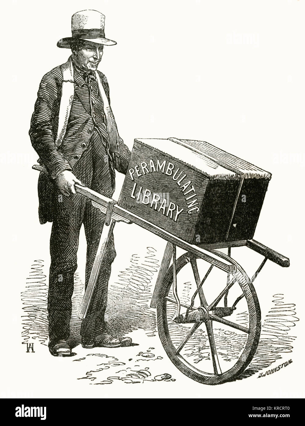 A Gentleman travelling from village to village, wheeling a large box containing a supply of books to rural people. - Stock Image