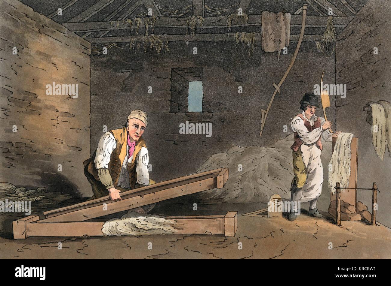 Line swinglers preparing hemp for rope Date: 1814 - Stock Image