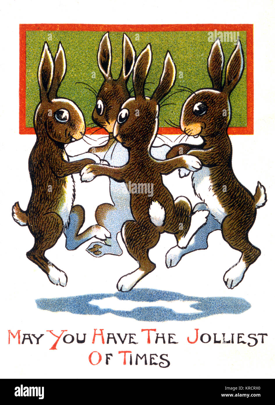 Four jolly bunnies dance Date: 1920s ? - Stock Image