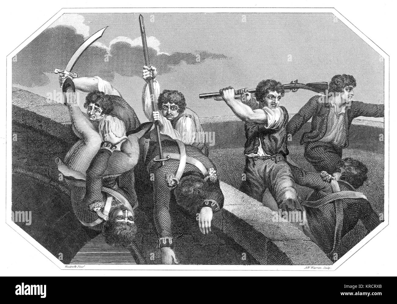 The Rebels executing their Prisoners on the Bridge at Wexford' Date: 21 June 1798 - Stock Image