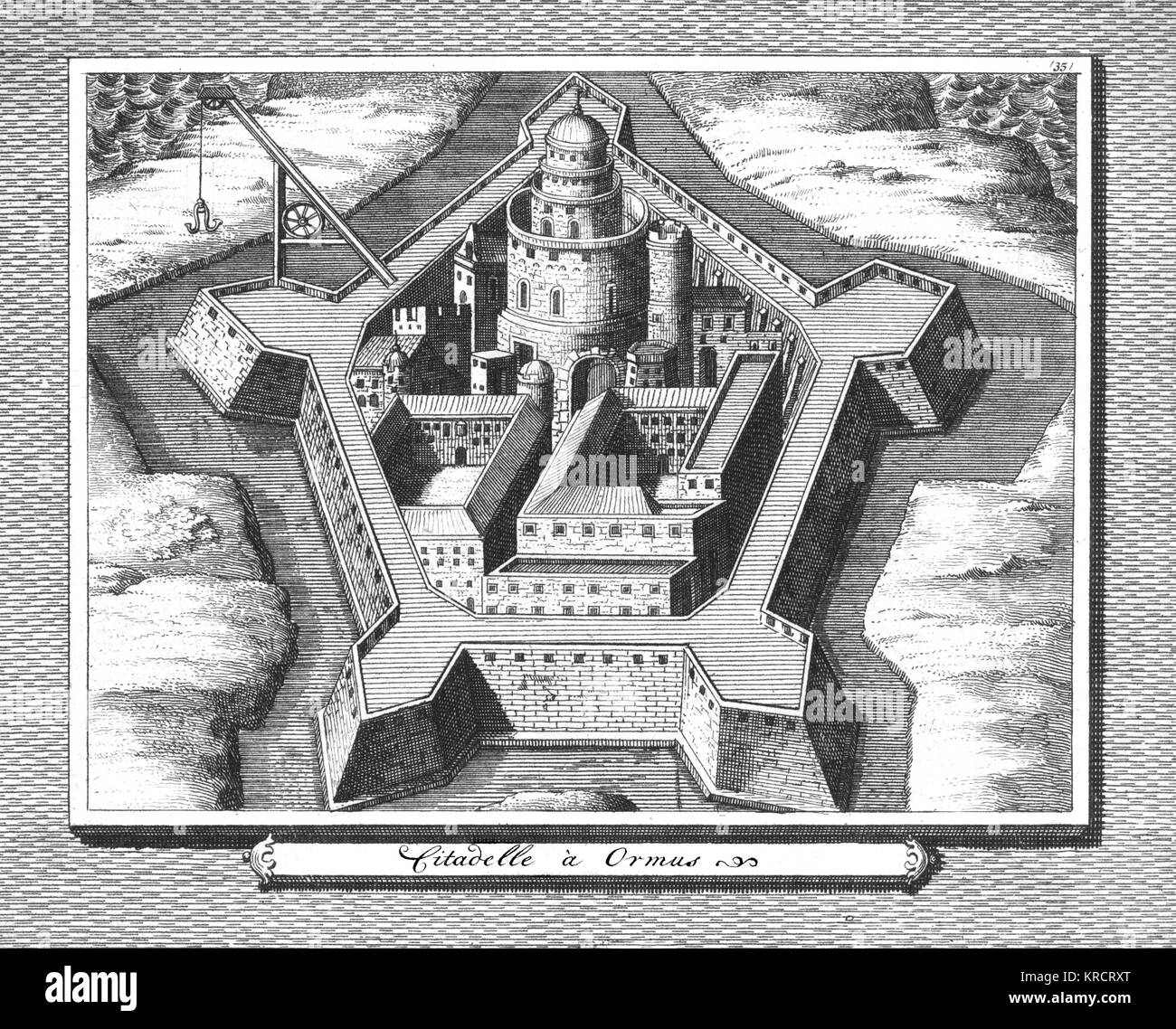 From 1514 the Portuguese controlled this trading centre, constructing this citadel which was taken in 1622 by Persians - Stock Image