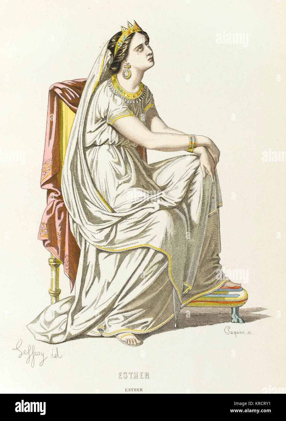 Esther, queen of Persia, as presented by Jean Racine in his play 'Esther' Date: Stock Photo