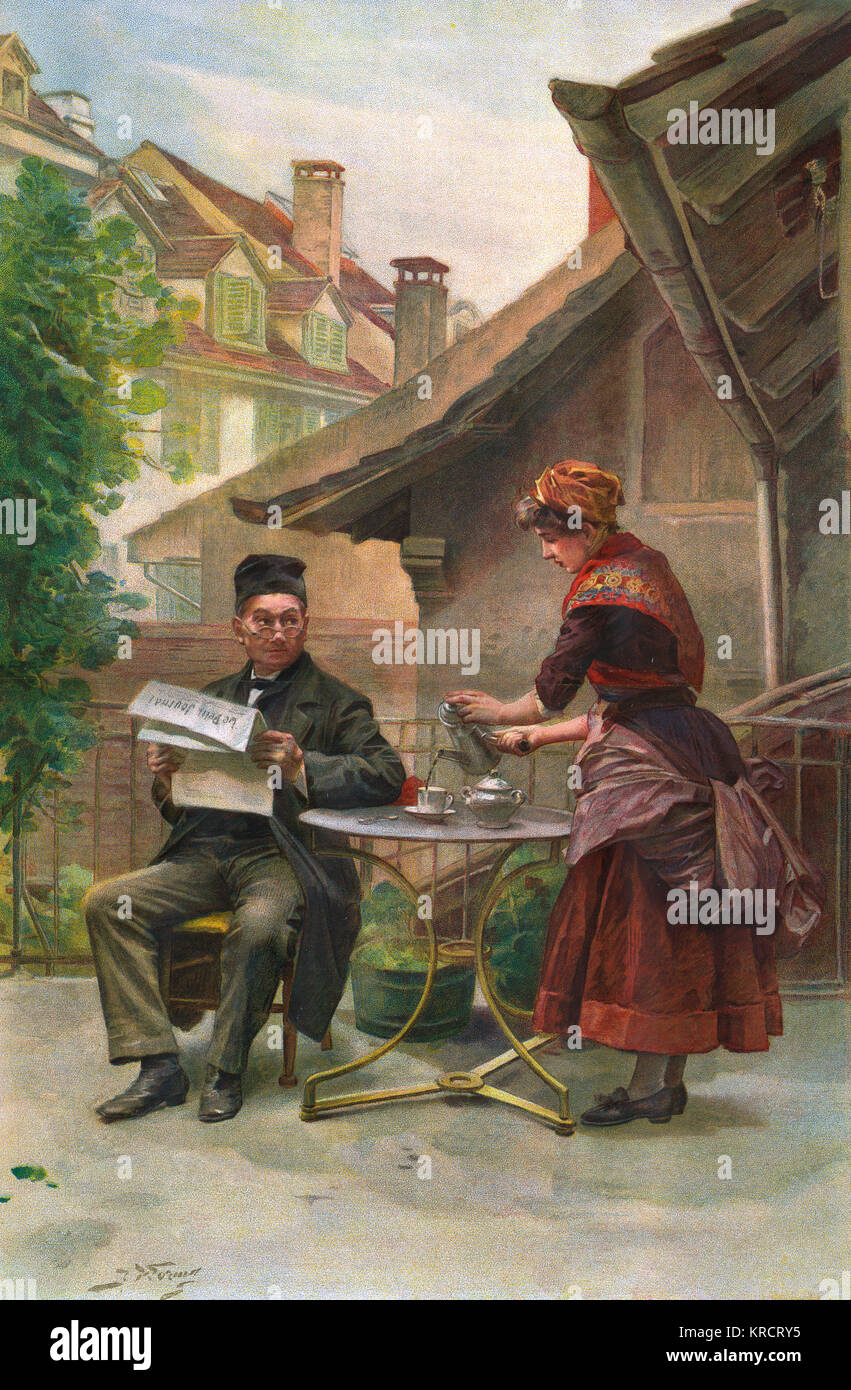 The maidservant serves coffee for her master as he sits reading 'Le petit Journal' in the garden Date: 1885 - Stock Image