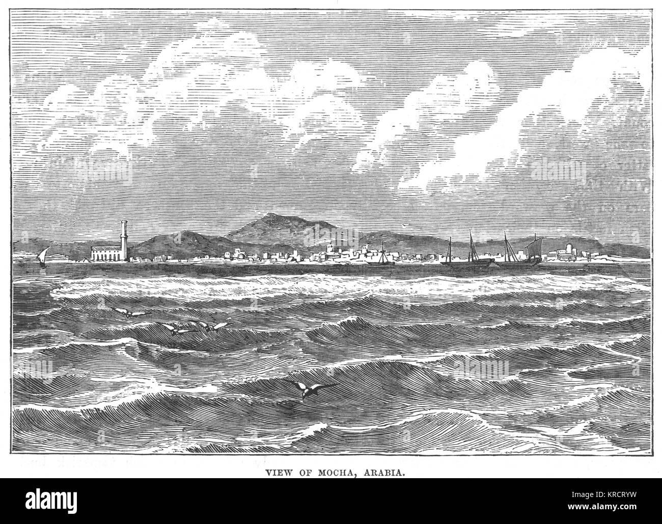 View of Mocha across water Date: 1870s - Stock Image