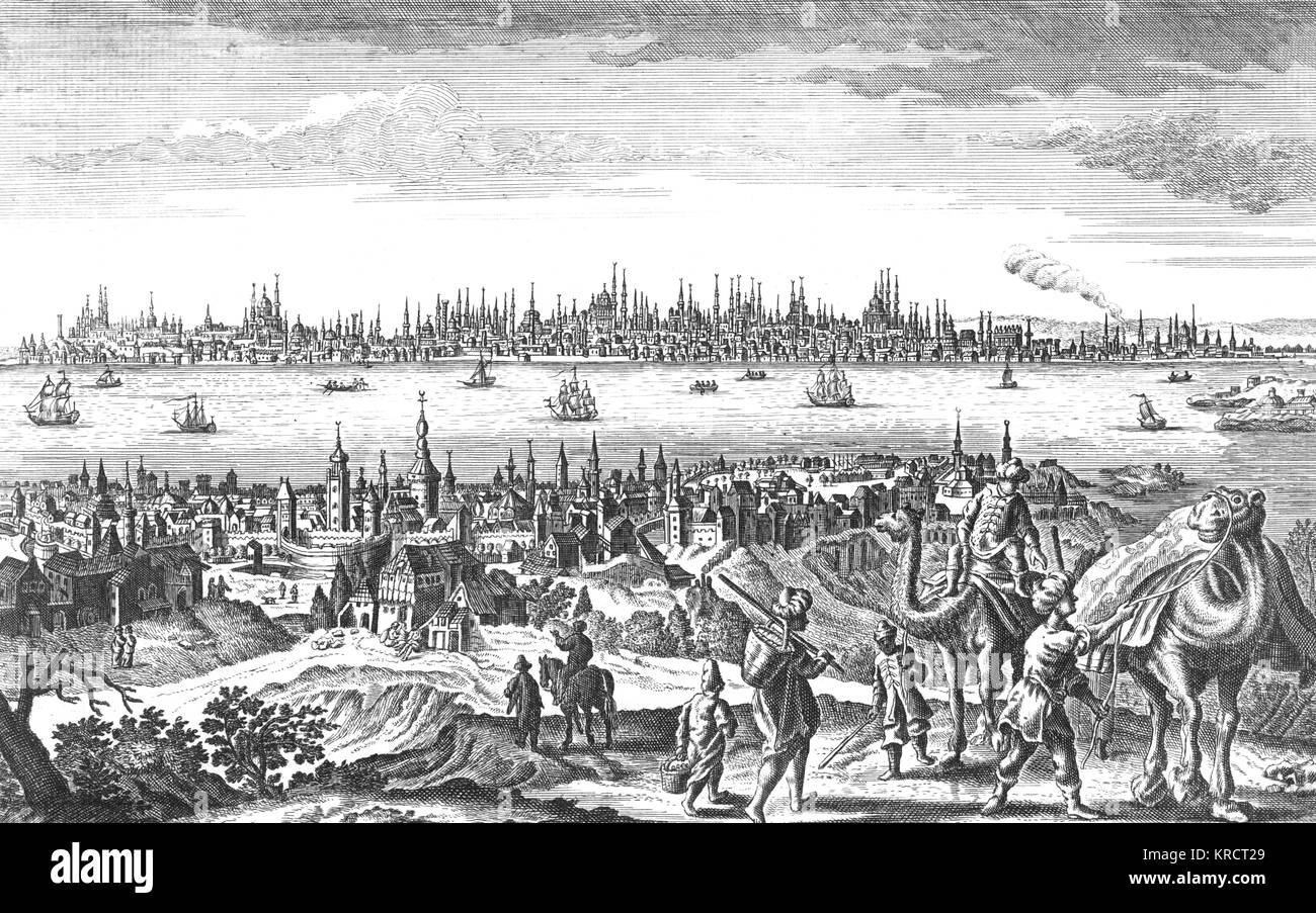 General view of the city in the 17th century, seen from across the Golden Horn Date: circa 1700 - Stock Image