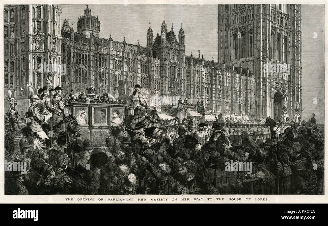 Queen Victoria travels in procession to the opening of Parliament 1880 - Stock Image