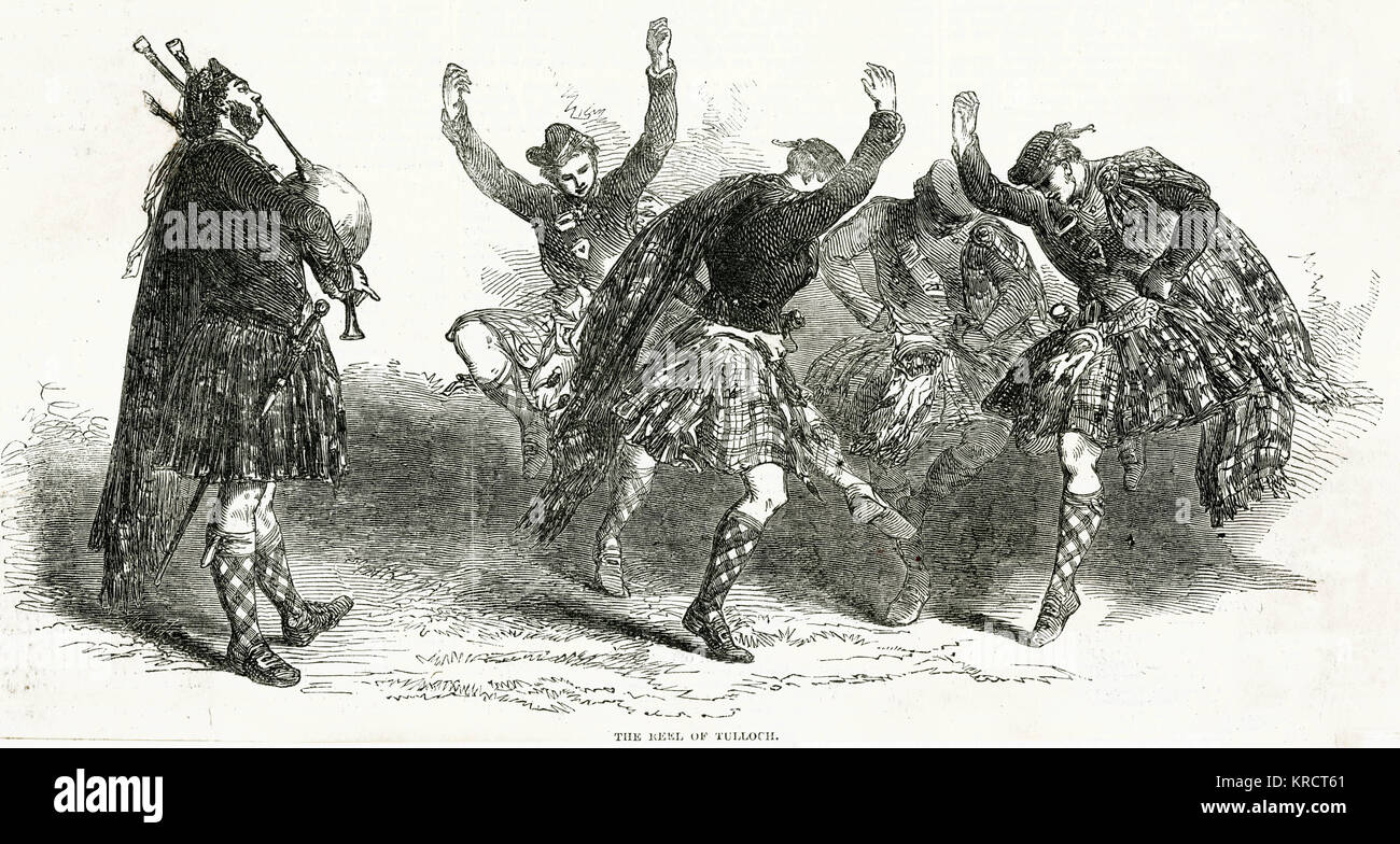 Four kilted Scotsmen dance the Highland Reel of Tulloch, accompanied by a lone bagpiper Date: 1849 - Stock Image