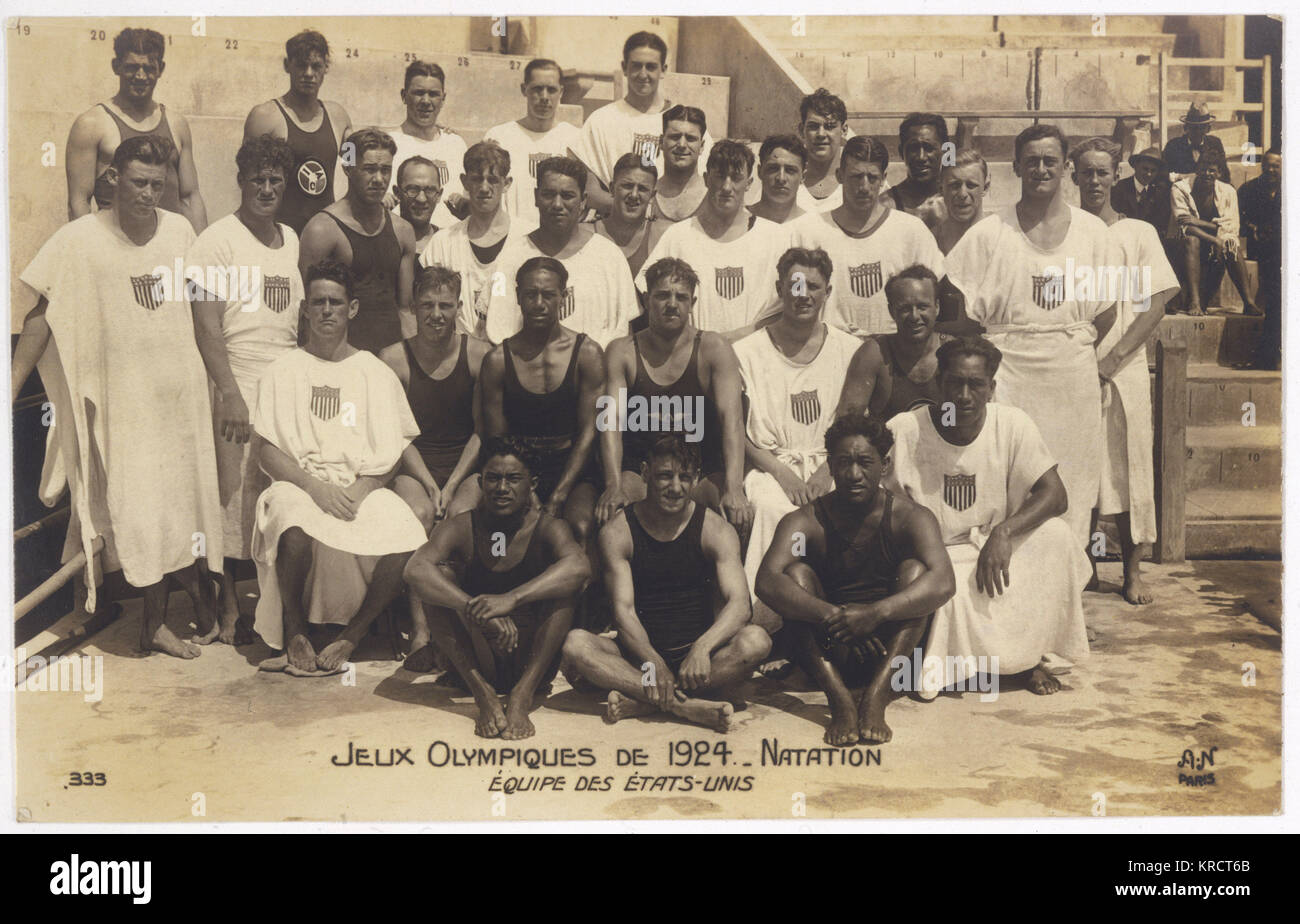 The USA Olympic swimming team; photo by 'AN' Paris. Date: 1924 - Stock Image