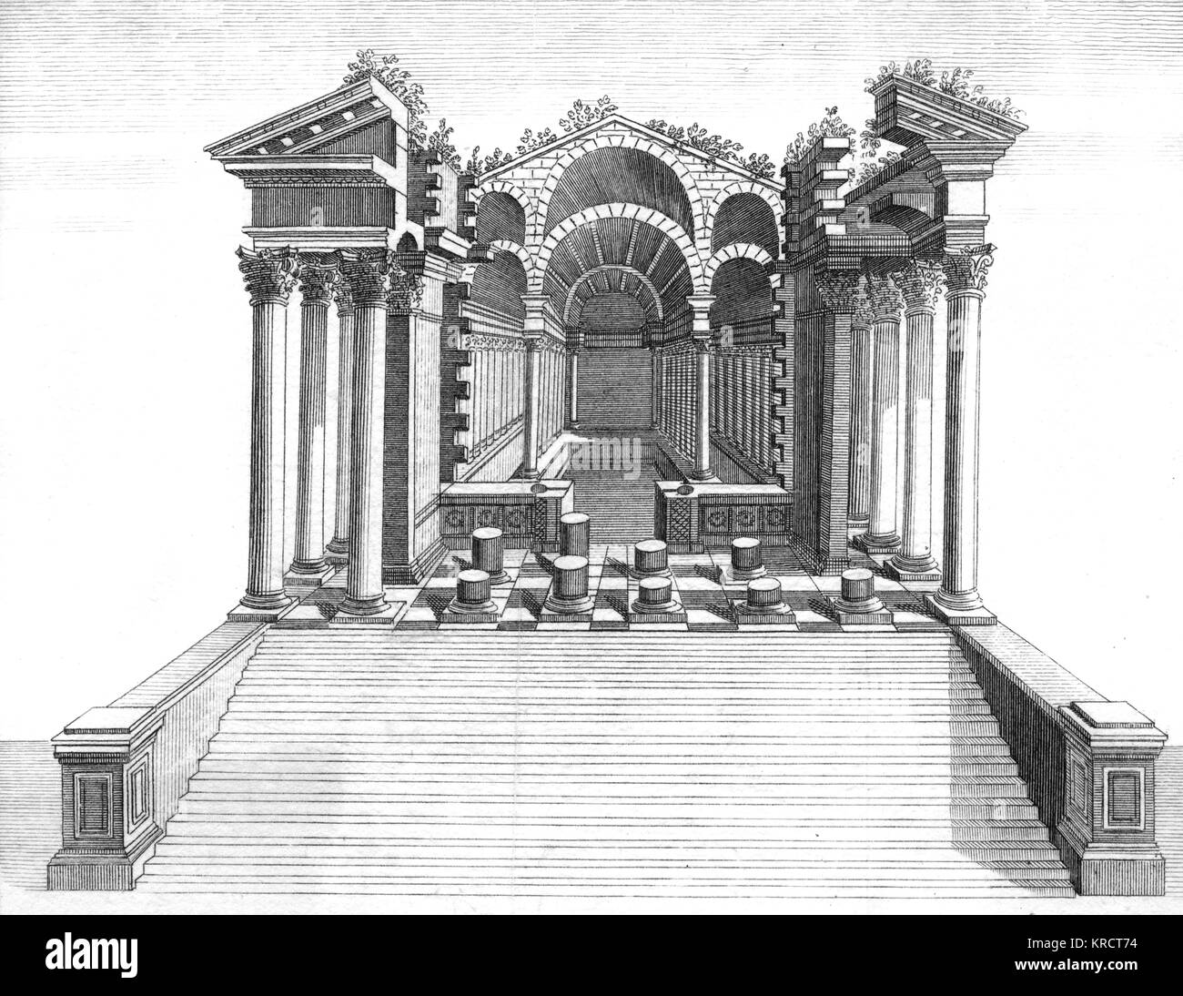 Temple ruins Date: 1768 - Stock Image