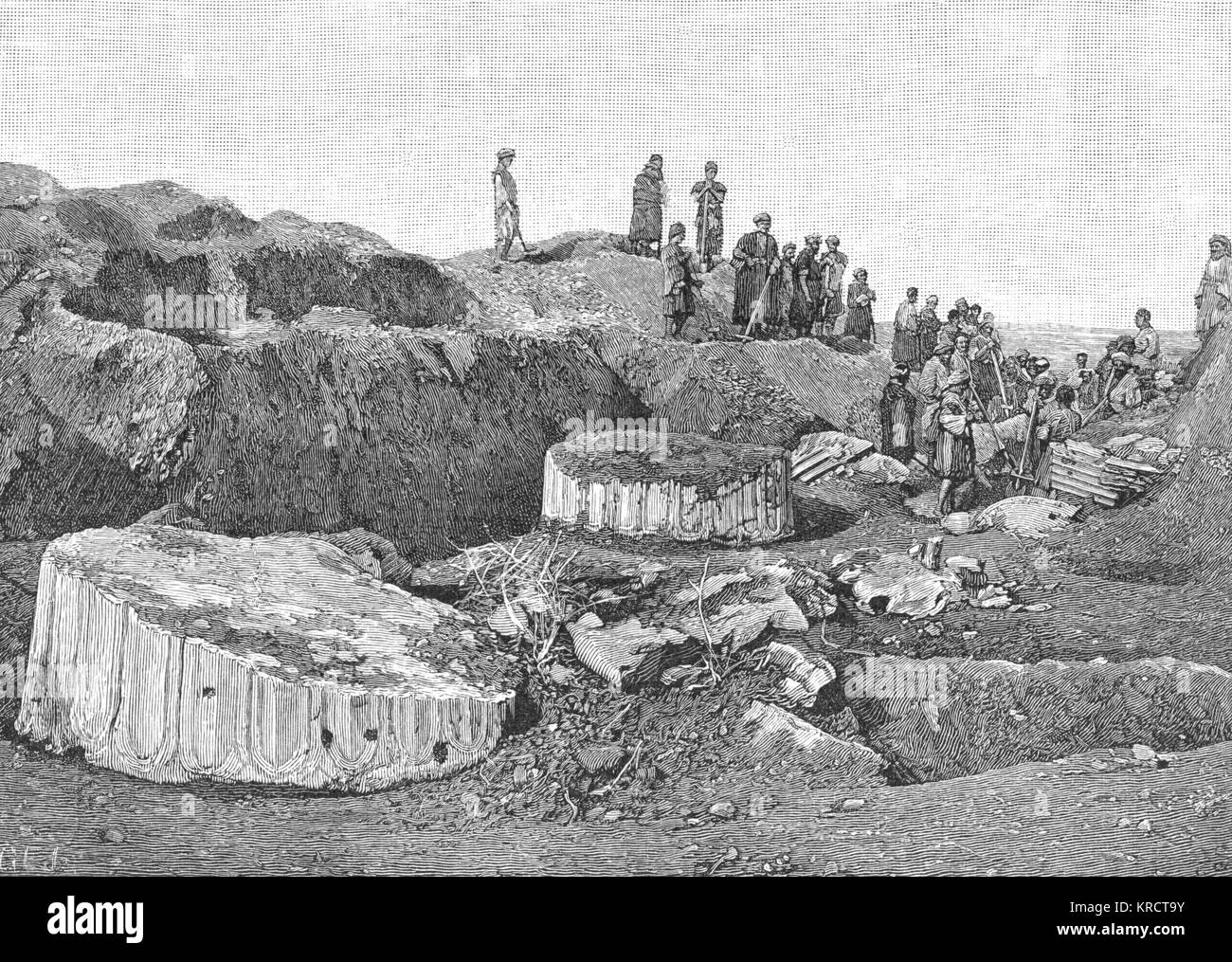 Excavations reveal the massive column bases of the Palace of Artaxerxes ? (circa 5th century BC). Date: 1887 - Stock Image