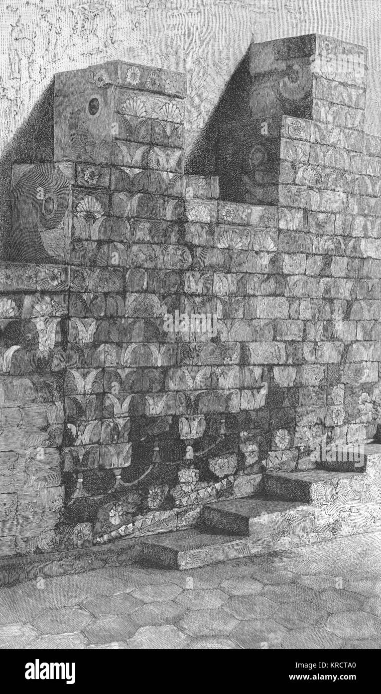 A brick Staircase flanked by glazed brick reliefs from the Palace of Darius at Susa. Such reliefs were used extensively - Stock Image