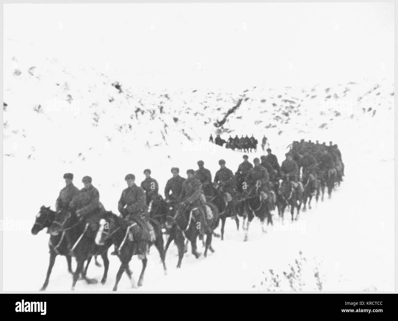 A Cavalry Unit going back to the front. Date: 1941-42 - Stock Image