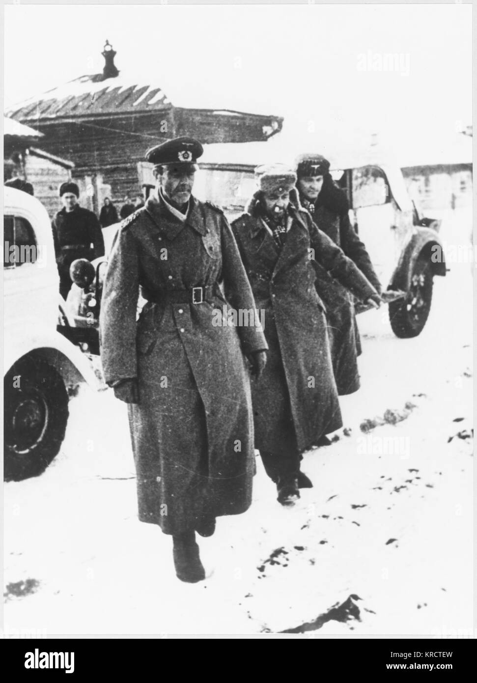 The German commanding General von Paulus is finally compelled to surrender, despite Hitler's orders that he - Stock Image
