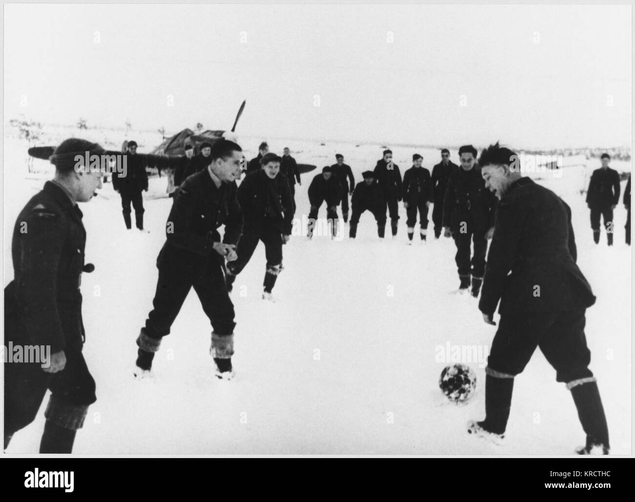 Anglo-Soviet soccer match, Murmansk, RAF and Soviet Airforce. The RAF provided air-cover for convoys in their Hawker - Stock Image