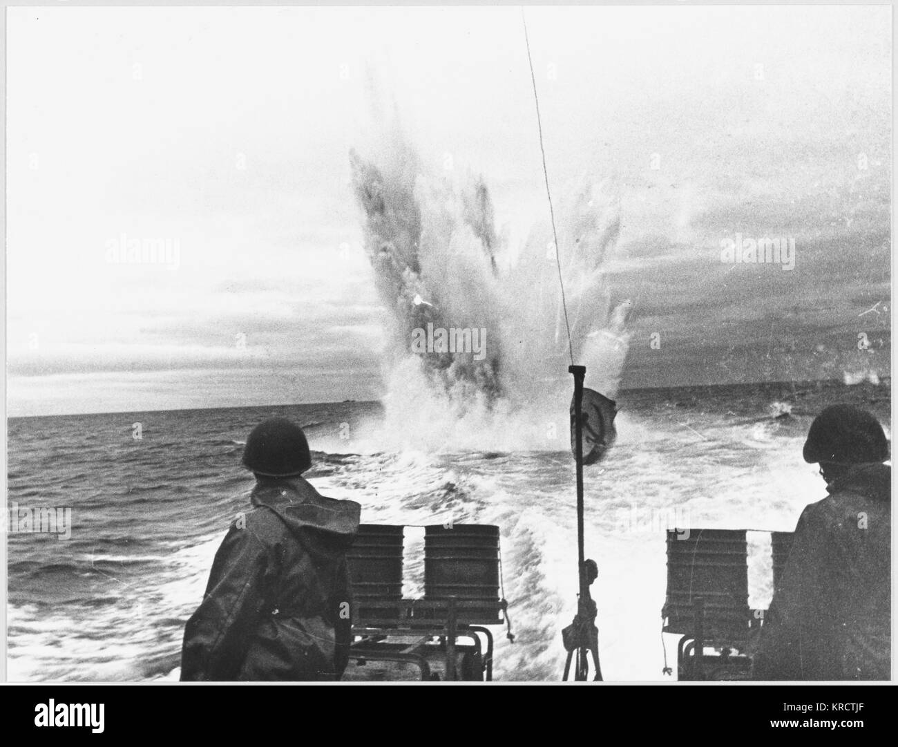 Launching a depth charge from a Soviet Sea Hunter. - Stock Image