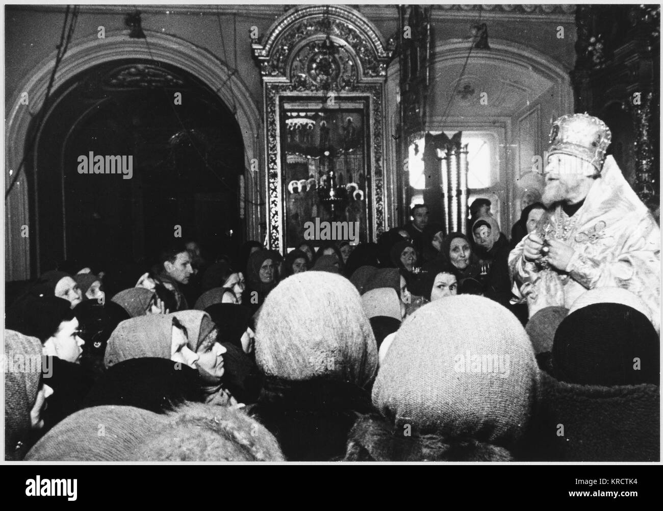Thanksgiving service given by Orthodox Archbishop Nikolai after the Battle of Moscow has ended with a German withdrawal - Stock Image